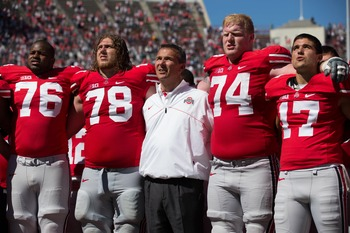 Andrew Norwell (78) and Jack Mewhort (74) return to anchor the Buckeyes' offensive line.