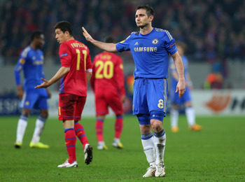 Frank Lampard in action against Steaua Bucharest on Thursday.