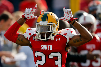 Jan 26, 2013; Mobile, AL, USA; Senior Bowl south squad defensive back Robert Alford of Southeastern La. (23) prior to kickoff of a game against the Senior Bowl north squad at Ladd-Peebles Stadium. Mandatory Credit: Derick E. Hingle-USA TODAY Sports