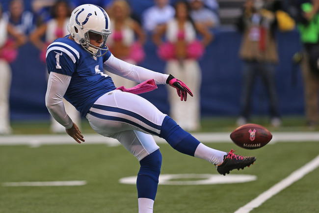 INDIANAPOLIS, IN - OCTOBER 21:  Pat McAfee #1 of the Indianapolis Colts punts against the Cleveland Browns at Lucas Oil Stadium on October 21, 2012 in Indianapolis, Indiana. The Colts defeated the Browns 17-13.  (Photo by Jonathan Daniel/Getty Images)