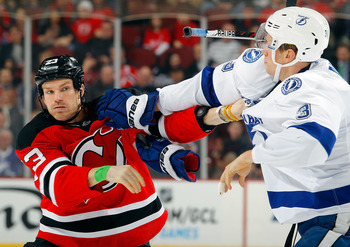 David Clarkson dropping the gloves.