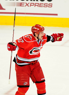 Eric Staal ecstatic after scoring.