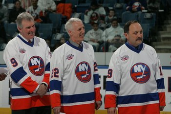 Clark Gillies, Mike Bossy and Bryan Trottier