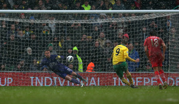 Southampton goalkeeper Artur Boruc saves Grant Holt's penalty at Norwich.