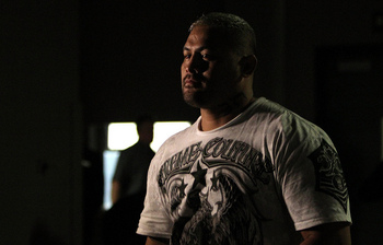 DENVER, CO - SEPTEMBER 24: Mark Hunt prepares to enter the arena before his bout with Ben Rothwell during the UFC 135 event at the Pepsi Center on September 24, 2011 in Denver, Colorado. (Photo by Mike Roach/Zuffa LLC/Zuffa LLC)
