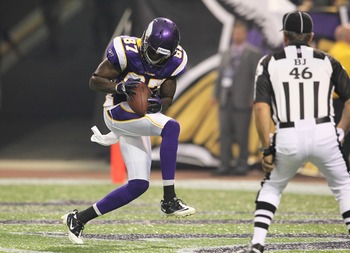 Bernard Berrian caught 110 passes for 1,925 yards and seven touchdowns in four years with the Vikings.