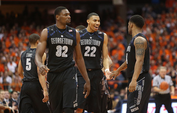 Georgetown teammates Moses Ayegba, left, Otto Porter Jr., middle, and D'Vauntes Smith-Rivera, right.