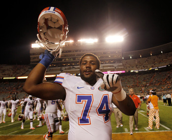 Dunker celebrates a Gator win over the Vols.