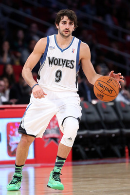 HOUSTON, TX - FEBRUARY 15:  Ricky Rubio #9 of the Minnesota Timberwolves moves the ball in the second half in the BBVA Rising Stars Challenge 2013 part of the 2013 NBA All-Star Weekend at the Toyota Center on February 15, 2013 in Houston, Texas. NOTE TO U