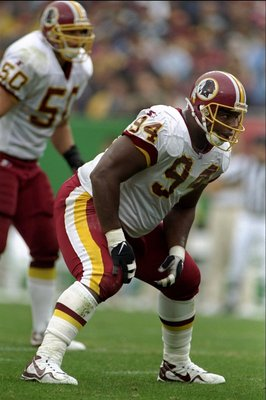 4 Oct 1998:  Dana Stubblefield #94 of the Washington Redskins in action during the game against the Dallas Cowboys at the Jack Kent Cooke Stadium in Washington, D.C.. The Cowboys defeated the Redskins 31-10. Mandatory Credit: Scott Halleran  /Allsport
