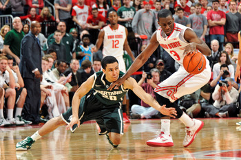 Travis Trice always hustles for the ball. He was one of Michigan State's top defenders this year.