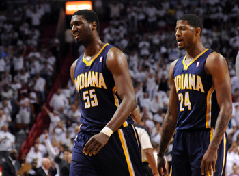 Roy Hibbert and Paul George star for the Pacers defensively.