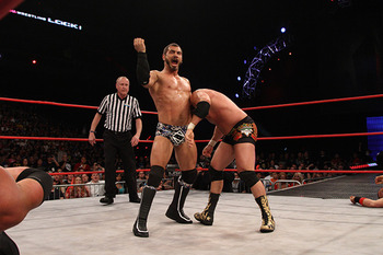 Austin Aries attempts to put Chavo Guerrero away. (Courtesy of ImpactWrestling.com)