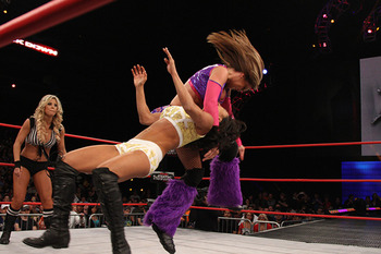 Velvet Sky takes it to Gail Kim. (Courtesy of ImpactWrestling.com)