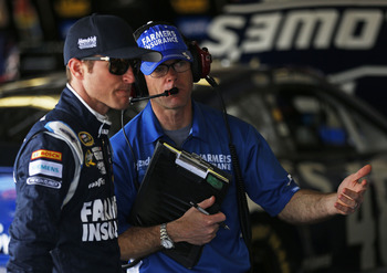 Kasey Kahne (left) and Kenny Francis at Daytona last month.