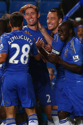 Cesar Azpilicueta (left), Gary Cahill (left center) and Victor Moses (far right), celebrating a Cahill goal with John Terry (center right) against Wolves in the Capital One Cup, have been three underrated players for Chelsea this season and should make an impact around Stamford Bridge for years to come.