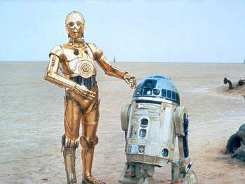 Although primarily used as comic relief, the movies would never be the same without this lovable duo, C-3PO (left) and R2-D2 (right). Photo via: http://larvalsubjects.files.wordpress.com/2012/06/r2-d2-c-3po-star-wars.jpg