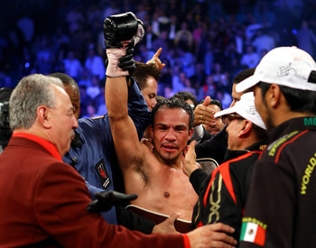 Juan Manuel Marquez glowing in the aftermath of his knockout victory over Manny Pacquiao.