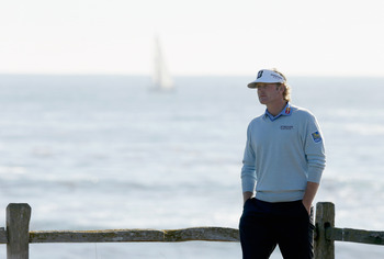 Brandt Snedeker ponders life on the 18th tee at Pebble Beach.