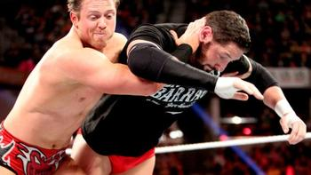 Intercontinental Champion Wade Barrett receives a Skull-Crushing Finale from The Miz.  Courtesy of WWE.com