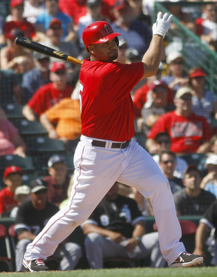 Albert Pujols is hitting .429 but has yet to play first base for the Angels this spring.