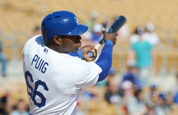 Top prospect Yasiel Puig has shown the Dodgers he's not far away, hitting .459 thus far this spring.