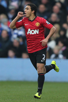 Rafael celebrates his screamer versus QPR.