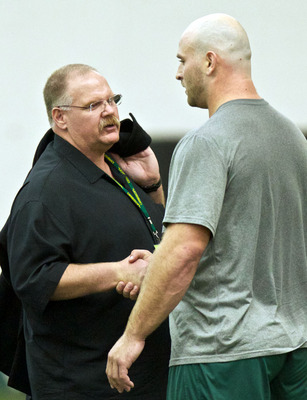 Kyle Long shaking hands with Kansas City coach Andy Reid