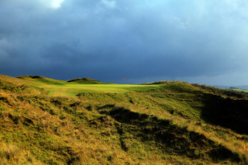 It's a barren, but beautiful look from the tee at the 14th at Portrush.