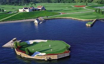 The floating 14th green at Coeur d'Alene will get your attention.