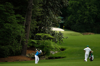 It's not an easy second shot if your drive is too far left at No. 13 at Augusta.