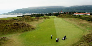The fairway on the ninth at Royal County Down is well below the tee.