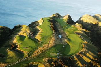 An aerial view of the 13 th, 14th and 15th holes at Cape Kidnappers
