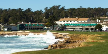The view from the 18th tee at Pebble Beach. It doesn't get any more scenic than that.