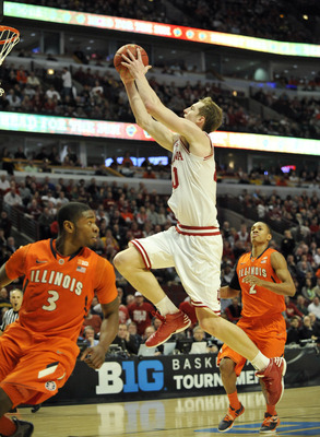 Mar 15, 2013; Chicago, IL, USA; Indiana Hoosiers forward Cody Zeller (40) shoots against the Illinois Fighting Illini in the first half during the quarterfinals of the Big Ten tournament at the United Center. Mandatory Credit: David Banks-USA TODAY Sports