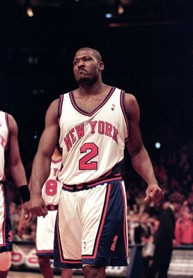 23 Apr 2000: Larry Johnson #2 of the New York Knicks walks on the court during the NBA Eastern Conference Round One Game against the Toronto Raptors at Madison Square Garden in New York New York. The Knicks defeated the Raptors 92-88 .   Mandatory Credit: