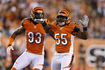 Michael Johnson will continue celebrating sacks in Cincinnati in 2013.