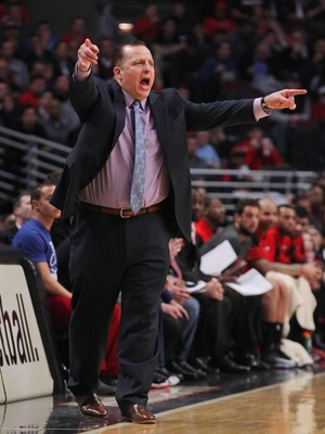 Feb 21, 2013; Chicago, IL, USA; Chicago Bulls head coach Tom Thibodeau during the second quarter against the Miami Heat at the United Center. Mandatory Credit: Dennis Wierzbicki-USA TODAY Sports