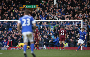 Nikica Jelavic scored his first Premier League goal since Dec. 9 for Everton against Manchester City.