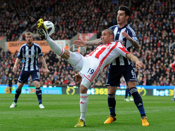 Stoke City striker Jon Walters went close to scoring in the 0-0 draw with West Brom.