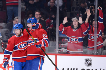 Max Pacioretty (right) and David Desharnais of the Montreal Canadiens.