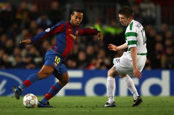 Ronaldinho dominated the left-hand side of the park during his time at Barcelona.
