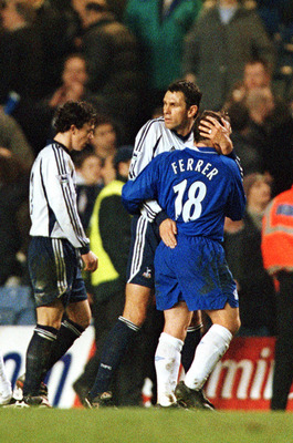 Gus Poyet in action against the Blues in 2002