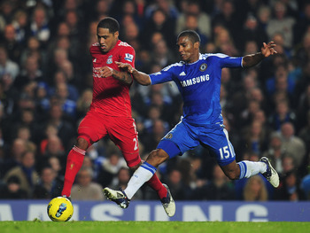 Glen Johnson attacks the Chelsea defence