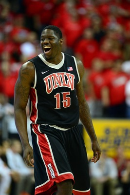 Mar 16, 2013; Las Vegas, NV, USA; UNLV Rebels forward Anthony Bennett (15) reacts after scoring against the New Mexico Lobos during the championship game of the Mountain West tournament at the Thomas & Mack Center. Mandatory Credit: Ron Chenoy-USA TODAY S