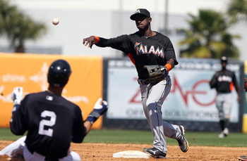 Marlins shortstop Adeiny Hechavarria is someone the Marlins can build around based on his defensive skills alone. As for his hitting...it remains a work in progress.