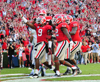 Alec Ogletree (No. 9) is an athletic, playmaking middle linebacker, which is exactly what Minnesota could use.