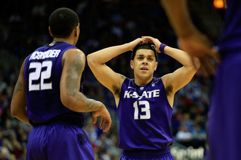 Kansas State's Rodney McGruder (22) and Angel Rodriguez (13).