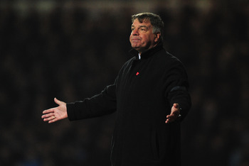 LONDON, ENGLAND - FEBRUARY 25: Sam Allardyce, manager of West Ham United looks dejected during the Barclays Premier League match between West Ham United and Tottenham Hotspur at the Boleyn Ground on February 25, 2013 in London, England.  (Photo by Jamie M