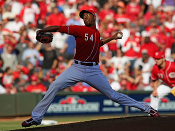 CINCINNATI, OH - OCTOBER 11:  Aroldis Chapman #54 of the Cincinnati Reds pitches against the San Francisco Giants in Game Five of the National League Division Series at the Great American Ball Park on October 11, 2012 in Cincinnati, Ohio. The Giants defea